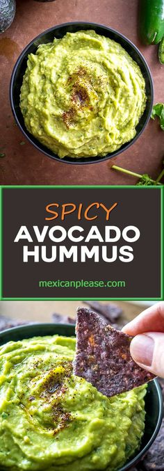 If you're new to Avocado Hummus you're in for a treat! Avocados and chickpeas combine to make this one of the creamiest, most delicious dips you'll ever have. So good! mexicanplease.com
