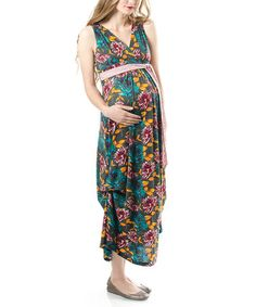 Teal Floral Pickup Maternity Maxi Dress by Lilac Maternity on #zulily