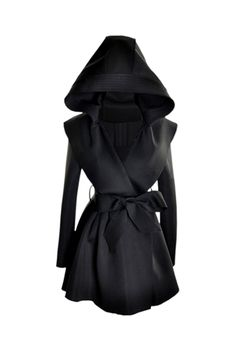 Slim Hooded Black Trench Coat.. YES PLEASE