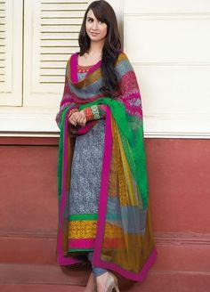 #Lauren #Gottlieb Blue and Grey colour #Linen Print Suit. - www.manndola.com