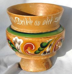 NORWEGIAN Ale Beer Wood Bowl ROSEMALING with Words 1977 - Norway Folk Art Decorative painting by Scandifinds on Etsy