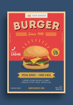 Burger Poster Template AI, PSD Flyer Template, Poster Templates, Miami Street, Lorem Ipsum, Snack Recipes, Meals, Art Direction, Ethnic Recipes, Composition