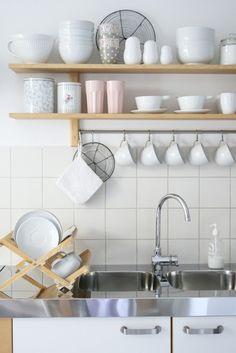 kitchen shelves ... ps love the polka dot cups!