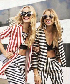 a street stylish striped duo.