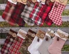 DIY your photo charms, compatible with Pandora bracelets. Make your gifts special. Make your life special! Set of 7 Family Christmas Stockings Personalized Wood Slice Name Tag Redwood Cone Rustic Woodland Christmas Plaid Flannel Christmas Stocking Family Christmas Stockings, Xmas Stockings, Plaid Christmas, Christmas Holidays, Christmas Christmas, Woodland Christmas, Rustic Christmas, Scandinavian Christmas, Christmas Sewing