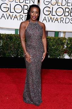 Actress Uzo Aduba attends the 72nd Annual Golden Globe Awards at The Beverly Hilton Hotel on January 11, 2015 in Beverly Hills, California.