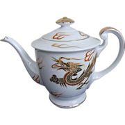 Japanese Kutani Tea Pot Gold Dragon Signed Vintage Porcelain