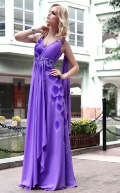New Fashion Purple Cocktail Prom chiffon Straps Draped Formal Long Evening Dress