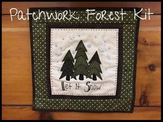 A cute and cozy little wall hanging or pillow kit to make that uses the Blueberry Backroads pattern - Patchwork Forest.