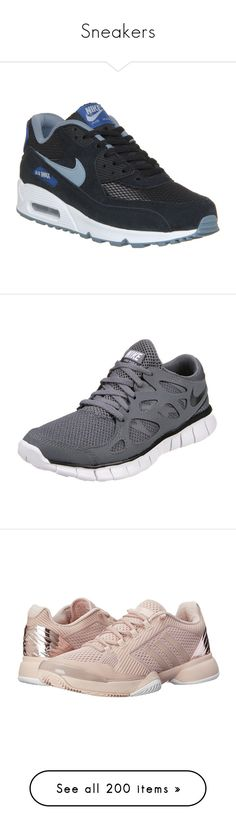 """""""Sneakers"""" by vanessayev ❤ liked on Polyvore featuring men's fashion, men's shoes, men's sneakers, shoes, black grey blue, his trainers, trainers, mens black sneakers, nike mens sneakers and mens gray dress shoes"""