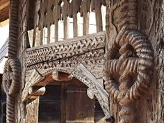 Traditional carved wooden gate of Maramures.