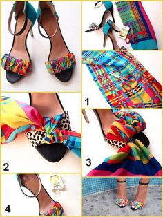 DIY- Colorful DIY Shoes made by old colorful scarf. Visit for more incredible gadgets every day. Shoe Makeover, Shoe Refashion, Diy Kleidung, Diy Vetement, Diy Mode, Shoe Crafts, Diy Crafts, Embellished Shoes, Painted Shoes