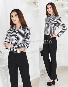 Nueva alta calidad elegante ropa de trabajo Formal trajes Pant y blusas  trajes de pantalones uniformes diseño blusas Set para para mujer de la  oficina en ... 3be8f532e10