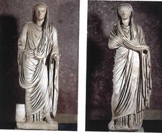 Wk 4. Left: Claudius as pontifix maximus, from Basilica at Velleia, ca. 45 CE, marble. Right: Agrippina the Younger, Basilica at Vellia, marble, ca. 48-51 CE.