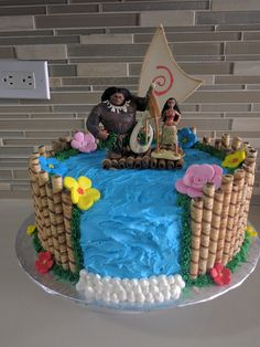 Moana Cake Kay S Beach Luau Party Moana Birthday Moana Luau Birthday, 6th Birthday Parties, Moana Birthday Cakes, Moana Birthday Party Ideas, Birthday Ideas, Cupcakes, Luau Party, Party Cakes, Moana Cake Ideas