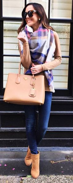 fall casual outfit : plaid scarf   top   bag   skinny jeans   boots