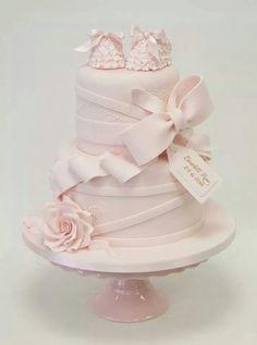 Baptism cake. Love the bow Emma Jayne cake design