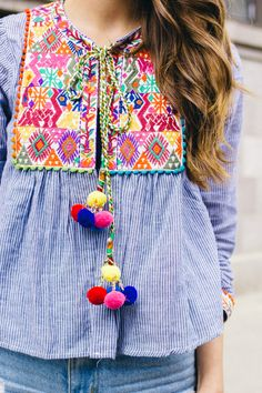 Shop this post: Pom Pom embroidered jacket/top // Jean shorts (old–but similar here, here and here) // Sandals (old, but similar here and also love these and these) // Clinique Pop Lipstick in Passion Pop // Hair curled with my beachwaver curling iron   What are your thoughts on the pom pom trend? Typically I'm not super drawn...