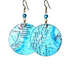 Map Earrings Ocean Inspired Jewelry in Turquoise by BluKatDesign, $22.00