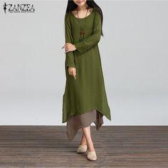 Spring Autumn Fashion Cotton Linen Vintage Dress Women Casual Loose O Neck Boho Long Maxi Vestidos Plus Size S-2XL
