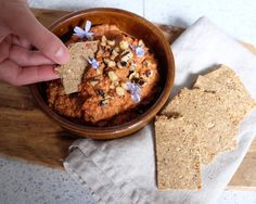 Muhammara. Roasted red pepper & walnut dip. Roasted Walnuts, Runner Beans, Daily Vitamins, Roasted Red Peppers, Middle Eastern Recipes, Dip Recipes, Party Snacks, Tray Bakes, Cooking Time