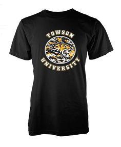 #Towson University Yellow Camo Circle Black Shirt for $11.99 @bookholders towson 208 York Rd. Towson, MD 21204 Towson University, Camo, York, Yellow, Mens Tops, T Shirt, Stuff To Buy, Black, Fashion