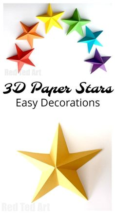 3D Paper Star Kirigami - pretty and super easy paper stars. Learn how to make these paper stars quickly and easily. They are perfect as Christmas Decorations (yellow), Fourth of July Decorations (white), New Year's Eve (Gold and Silver) or for a special