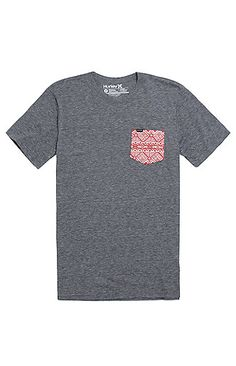 PacSun presents the HurleyIndian Summer Pocket T-Shirt for men. This trendy men's tee comes with a textured two tone chest pocket and a premium fit.   Heather gray tee Hurley logo loop on chest pocket Logo loop on bottom Crew neck Short sleeves Premium fit Machine washable 50% polyester, 38% cotton, 12% rayon Imported