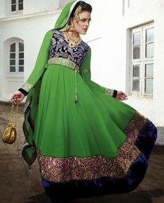 $121.48 Green Jardosi Work Faux Georgette Anarkali Salwar Kameez 25952