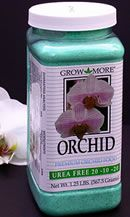 Grow More Urea Free 20-10-20 A general purpose, all-year-round orchid fertilizer for orchids such as Phalaenopsis, Paphiopedilums and other similar orchids.   May also be used for slab-mounted epiphytic orchids.   Grow More Urea Free 20-10-20 (Green) is also fine for growing plants in gravel or other inert inorganic mediums.    $8.95 ea.