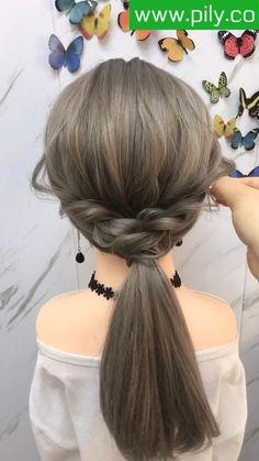Hairdo For Long Hair, Easy Hairstyles For Long Hair, Up Hairstyles, Braided Hairstyles, Front Hair Styles, Medium Hair Styles, Hair Style Vedio, Hair Tutorials For Medium Hair, Hair Videos