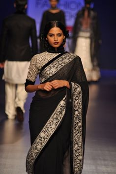 Black/silver retro sari | Manish Malhotra Lakme Fashion Week Spring 2013