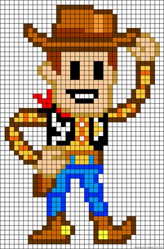 Woody Toy Story perler bead pattern or cross stitch pattern?