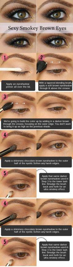 Sexy Smoky Eye Makeup Tutorial | Gorgeous & Easy Eye Makeup Tutorials For Brown Eyes | Eye Shadow Tutorials at http://makeuptutorials.com/gorgeous-easy-eye-makeup-tutorials-brown-eyes-eye-shadow-tutorials/