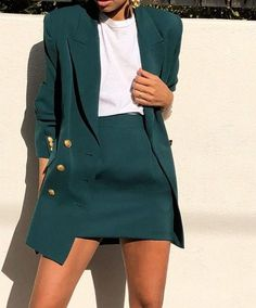 Skirt Suit Jacket Spring Suit Vintage Green Blazer Office - Business Outfits for Work Business Outfits, Business Attire, Business Fashion, Business Casual, Business Ideas, Mode Outfits, Fashion Outfits, Womens Fashion, Blazer Fashion