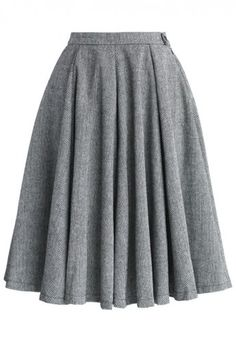 Classic Twill A-line Panel Skirt