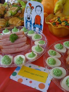 Dr. Suess / Green Eggs & Ham..   What a great idea for our classroom party to celebrate Dr. Seuss and reading!! The kids LOVED the green eggs and the turkey ham!! The teachers, however, were a little iffy about eating them.. lol