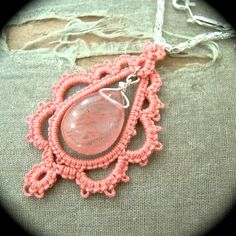 Tatted Lace Pendant Necklace - One Of A Kind - Salmon Teardrop via Etsy