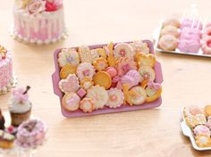 Assorted Pink-Themed Cookies and Sweet Treats by ParisMiniatures