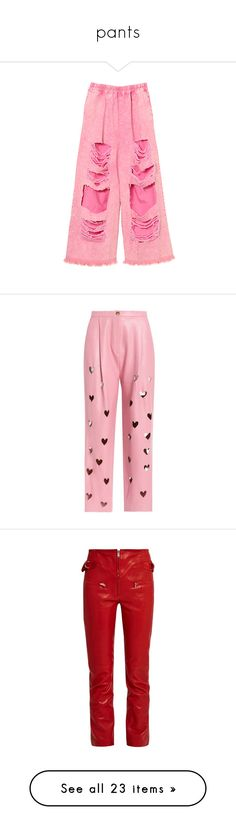 """""""pants"""" by marcellamic ❤ liked on Polyvore featuring pants, denim trousers, pink trousers, wide-leg pants, pink denim pants, denim pants, bottoms, trousers, pink leather pants and red leather pants"""