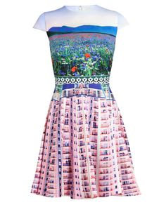 MARY KATRANTZOU Babelona Flat and Floral Printed Dress