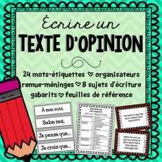 French Opinion Writing/Écrire un texte d'opinion by Mme McIntosh Persuasive Text, Argumentative Essay, Transition Words And Phrases, Teaching French Immersion, French Flashcards, French Teaching Resources, Teaching Ideas, Core French, French Education