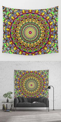 Bohemian bedroom and girls bedroom Mandala Tapestry, Wall Tapestry, Jungle Gardens, Cosy Bedroom, Tapestry Design, Wall Decor, Wall Art, Happy Art, Beautiful Wall