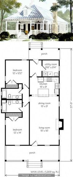 Cabins And Cottages: sq ft - Make this smaller - cut out utility .add master back if house Br House, House Bath, Haus Am See, Cabins And Cottages, Farmhouse Plans, Small House Plans, Cottage Homes, Cabana, Future House