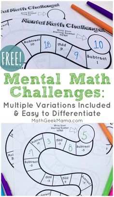 Help your kids develop new strategies and deepen number sense as they make their way through this mental math challenge. With multiple variations and a blank version, there's something for kids of all ages in this FREE math activity! Mental Maths Worksheets, Maths Puzzles, Math Resources, Mental Math Strategies, Easy Math Games, Educational Activities For Kids, Fun Math, Teaching Math, Teaching Geography