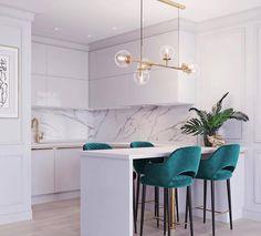 Kitchen Room Design, Home Room Design, Modern Kitchen Design, Home Decor Kitchen, Interior Design Kitchen, House Design, Cuisines Design, Living Room Decor, Hanging Lamp Design