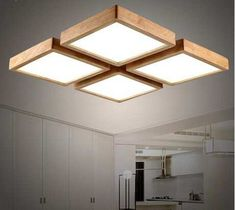 Ceiling Led Light Fixtures Modern brief Wooden led ceiling light square minimalism ceiling-mounted luminaire japanese style lustre for dining room Balcony. Ceiling Light Design, Modern Ceiling, Round Ceiling Light, Home Lighting, Lighting Design, Balcony Lighting, Lighting Ideas, Blitz Design, Diy Lampe