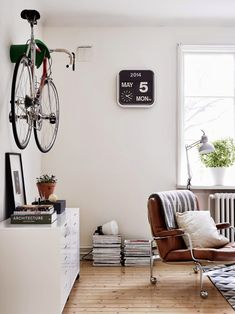 A very cool Swedish space with a Bike. Perfect for Seattle Bikers | DunnDIY.com | #inspiration