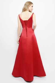 Beautiful lace up back to this full length gown.