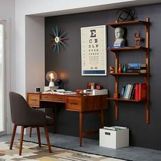 A perfectly structured work environment with mid-century touches The offset pieces of art make for an intriguing bedroom nook ideas men office designs Mid-Century Desk - Acorn Interior, Home, Bedroom Nook, Mid Century Office, Mid Century Desk, House Interior, Home Office Design, Office Interior Design, Interior Design